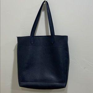 Madewell medium leather tote, navy